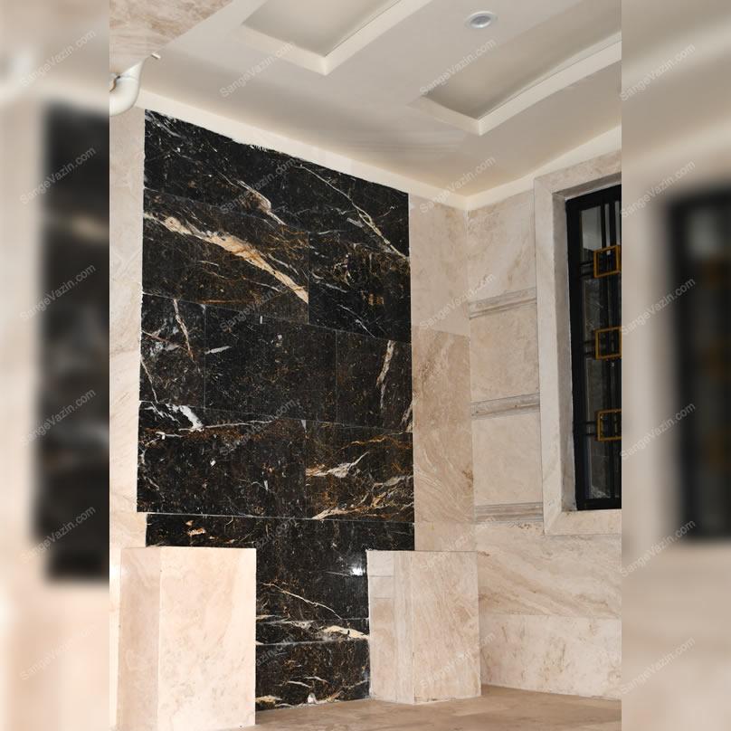 سنگ مرمریت گلدن بلک در طراحی دیوار