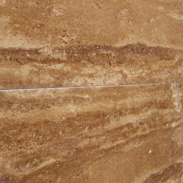 سنگ تراورتن شکلاتی رنگ بی موج عباس آباد در نمای طولی
