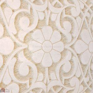 نمای مایل کتیبه سنگی گلدیس - کتیبه با طرح و گل و شاخ و برگ