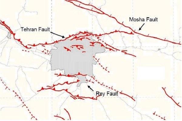 نقشه گسل های تهران