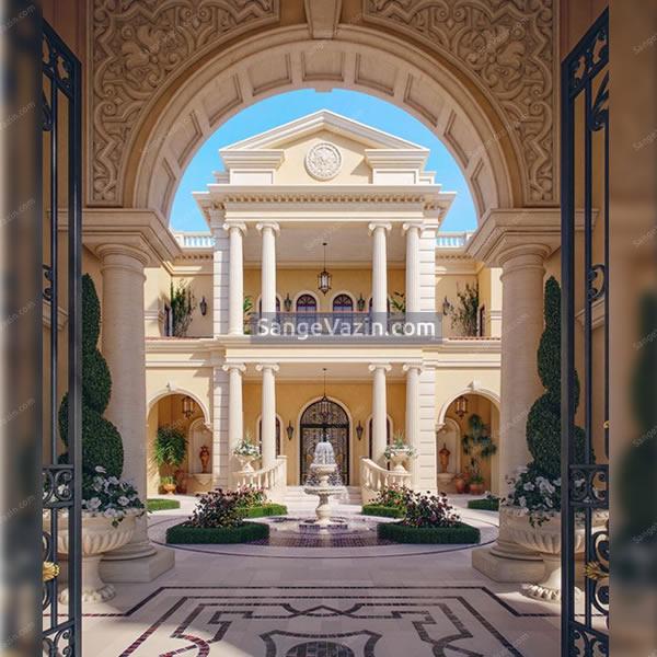 نما کلاسیک با حیاط و محوطه سازی با سنگ