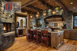 طراحی دکوراسیون آشپزخانه با سنگ
