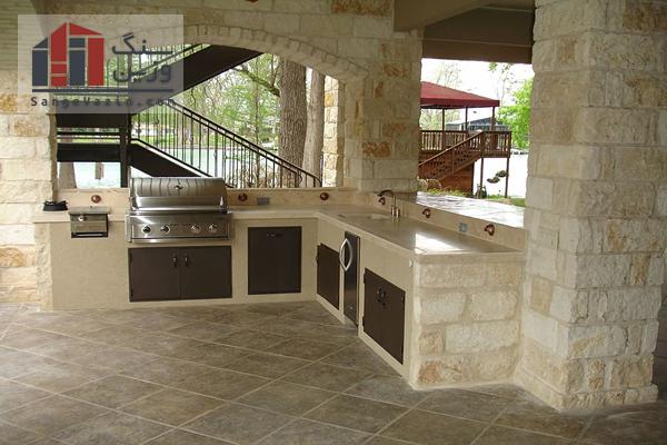طراحی دکوراسیون آشپزخانه با سنگ ساختمانی