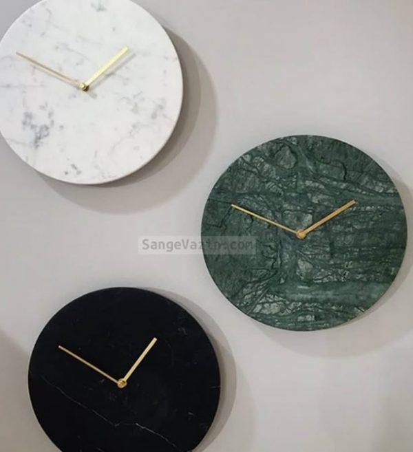 ساعت دیواری سنگی سفید سبز مشکی