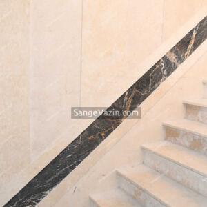 سنگ آباده بی موج به همراه گلدن بلک مشکی در را پله