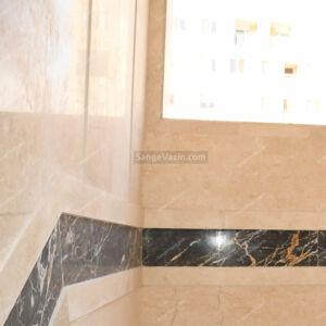 سنگ آباده بی موج به همراه گلدن بلک مشکی در را پله 3