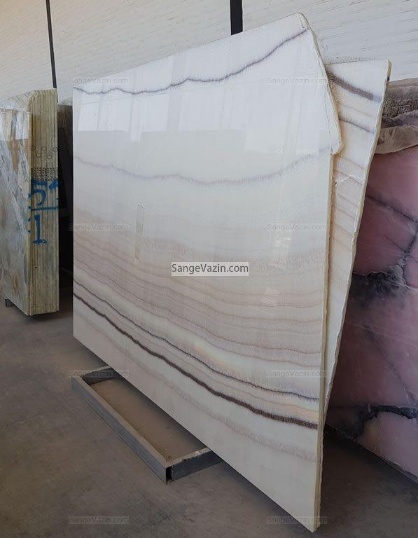 wavy white brown onyx slab
