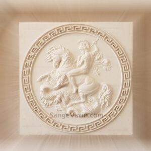 تابلو سنگ شوالیه رم و اژدها در پیکار