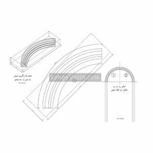 نقشه کشی اتوکد ابزار سنگی نما - شمش و قوس های بالا پنجره