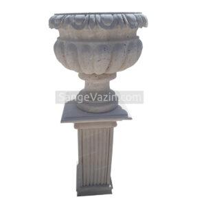 گلدان سنگی یاسمن به همراه ستون پایه سنگی