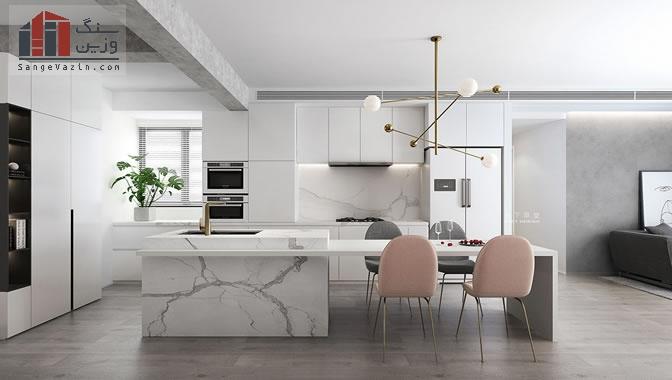 دکوراسیون آشپزخانه با سنگ مرمر