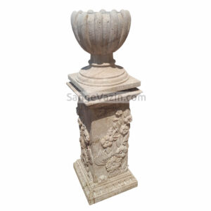 گلدان سنگی شکوفه با پایه گلدان سنگی ستونی