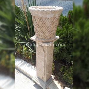 گلدان سنگی شکوه به همراه پایه ستونی سنگی