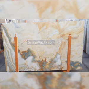 cream and white onyx slab with gray streaks