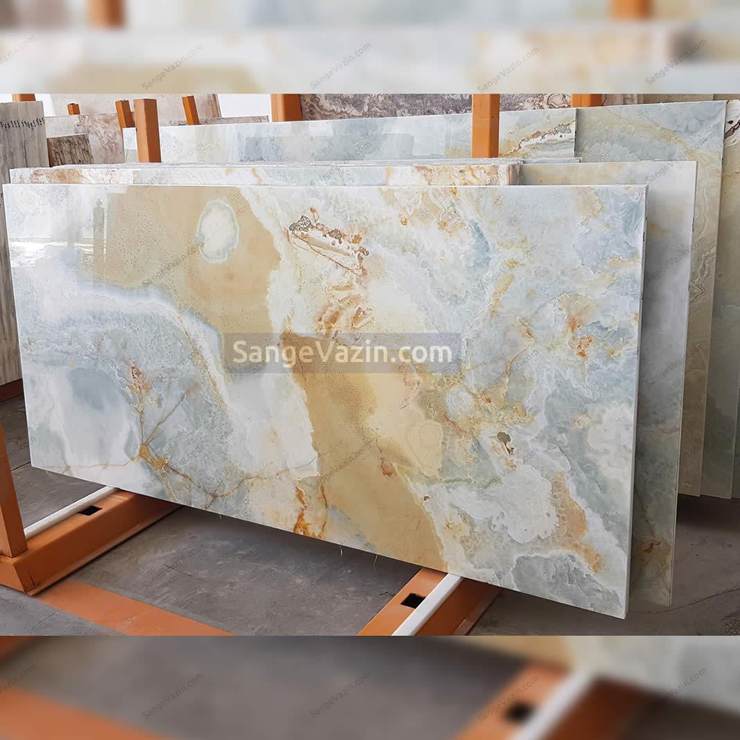 سنگ مرمر آبی طلایی سفید