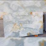 سنگ مرمر آبی سفید طلایی و مسی