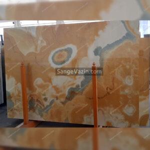 orange and gray onyx slab