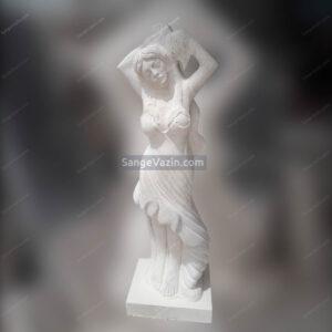 مجسمه سنگی زن با کوزه