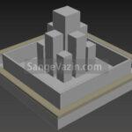 طراحی سه بعدی ستون آبنما ارج