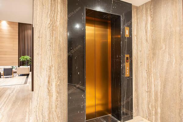 قاب سنگی زیبا دور آسانسور