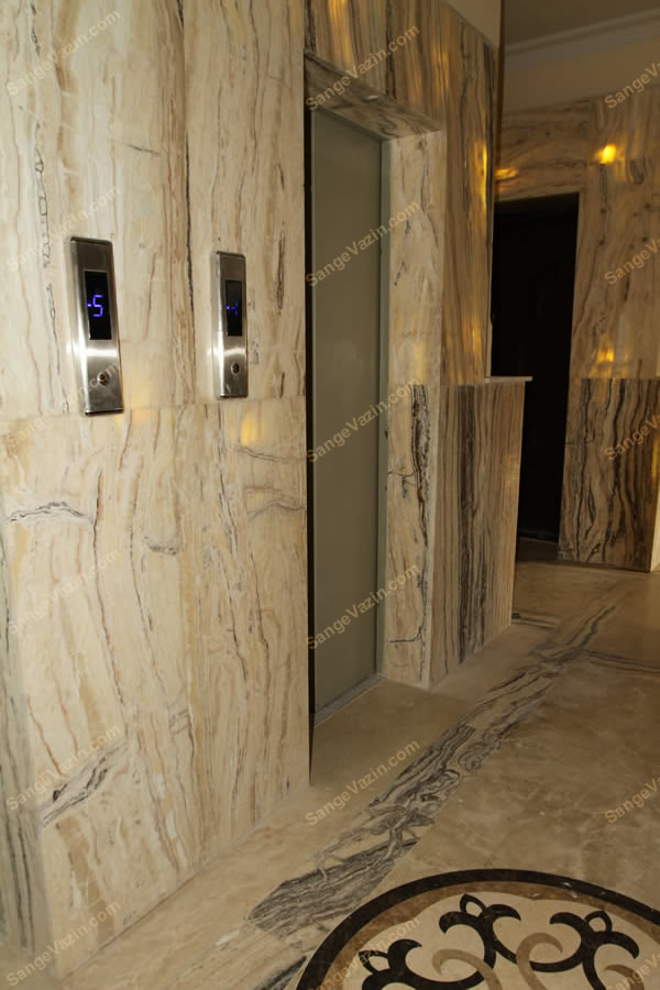 قاب سنگی آسانسور ساخته شده از سنگ مرمر