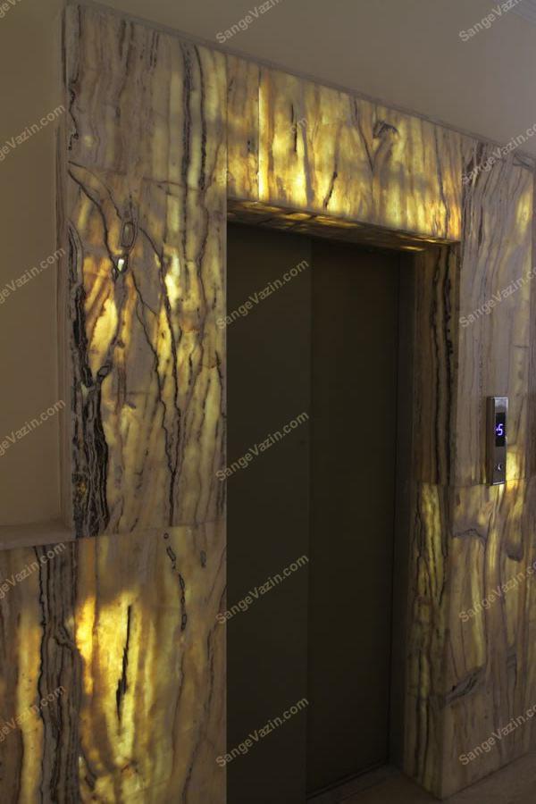 قاب سنگی آسانسور همراه با پنل LED