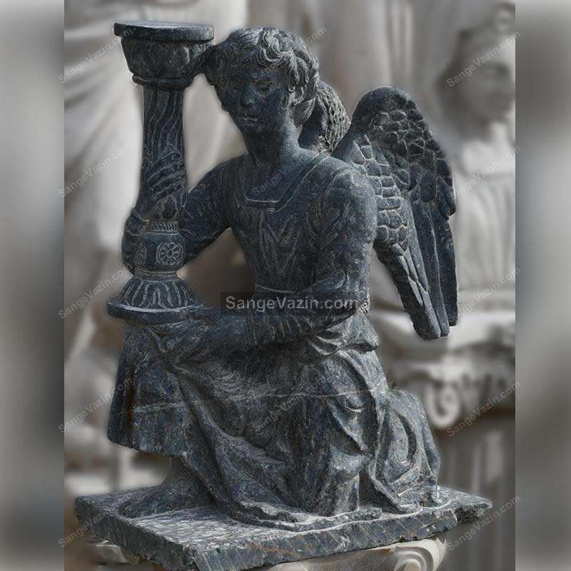مجسمه فرشته سنگی مشکی