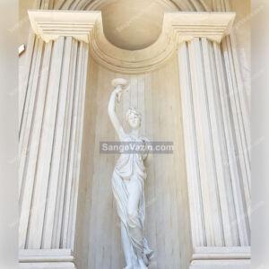 مجسمه سنگی فرشته ساخته شده از سنگ تراورتن