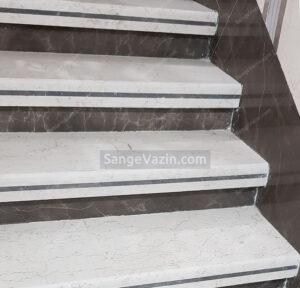 سنگ پله مرمریت صلصالی موج دار و مرمریت اسپایدر