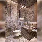 سنگ کرم و قهوه ای در طراحی سرویس بهداشتی