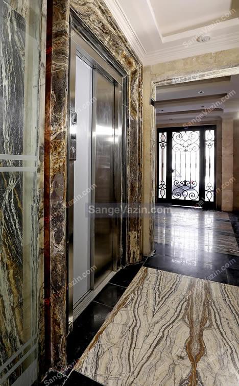 قاب دور آسانسور با سنگ مرمریت