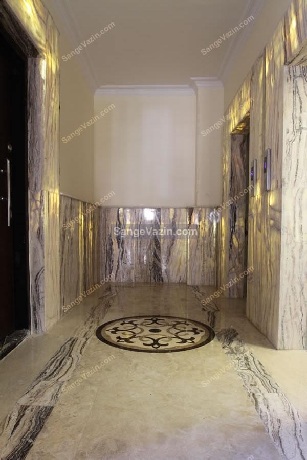 قاب سنگی مرمر دور آسانسور