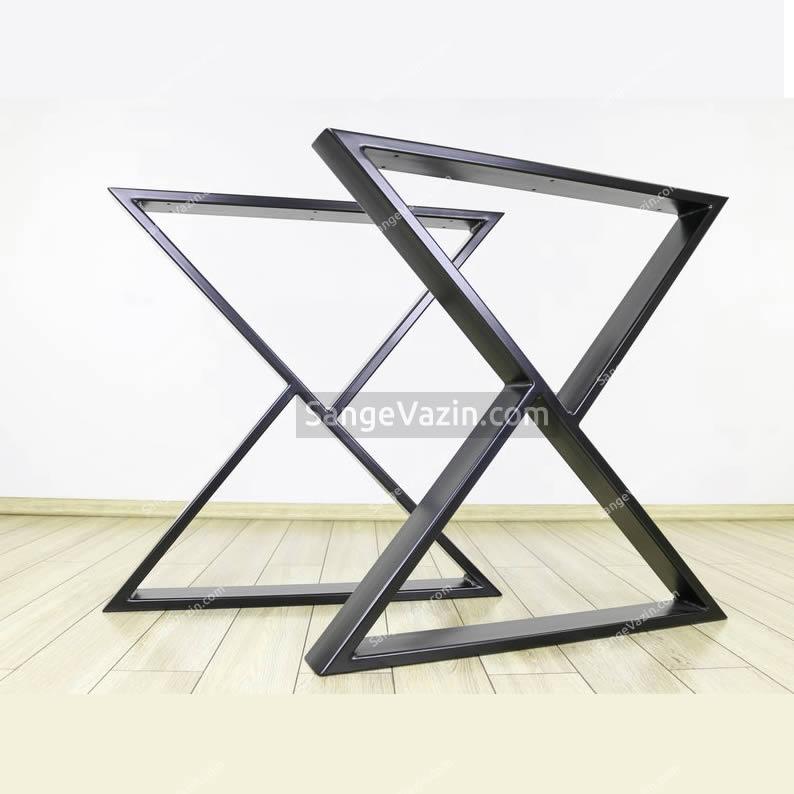 پایه آهنی کار نشده طرح ایکس - میز ناهار خوری
