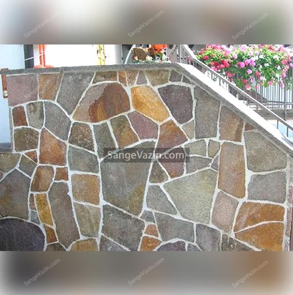 سنگ فرش نامنظم جهت دیوار سازی